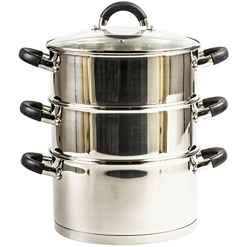 20Cm 3 Tier Stainless Steel Steamer Cooker Pot Set Glass Lid Kitchen Cookware (Kitchen & Home)