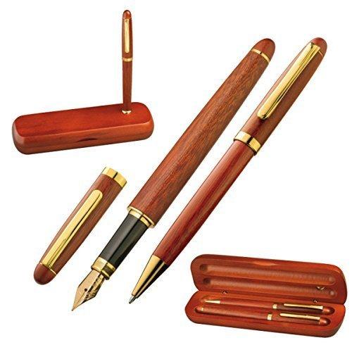 Holz-Schreibset mit Kugelschreiber und Füllfederhalter in Holzoptik mit Goldakzenten