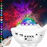 Porcyco Proyector de Luz Estelar, Lámpara de Nocturna Estrellas y Océano Proyector, 21 Modos Proyector LED LED de Luz Nocturna Giratorio, Color Reproductor de Música, Bluetooth Temporizador Remoto