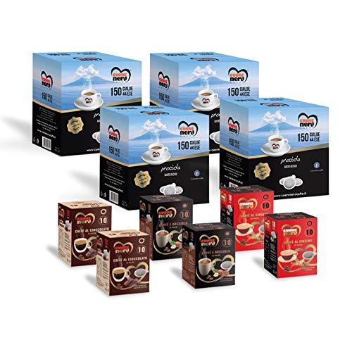 Cuore Nero Caffè – 600 Cialde Miscela Procida Sapore Forte e Corposo + Caffè Aromatizzati al Ginseng, Nocciola, Cioccolato ESE44 Filtro Carta 44mm