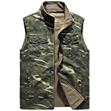 YJWSPD Chaqueta de Algodón Cuello Levantado para Hombre Chaleco de camuflaje de algodón en ambos lados-Army Green_4XL