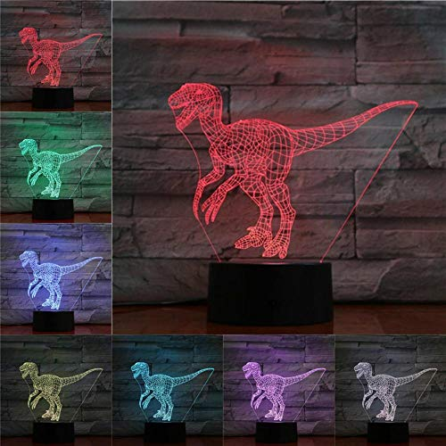 Yvvaceo® Illusion-Nachtlicht 3D, Jura-Dinosaurier,LED-Tisch-Schreibtisch-Lampen, 16 Farben USB-Lade, die Schlafzimmer-Dekoration für Kinder Weihnachten Halloween-Geburtstagsgeschenk beleuchten