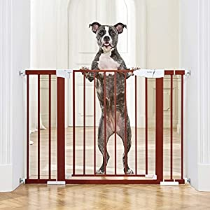 """Cumbor 46""""Baby Gate for Stairs and Doorways, Extra Tall and Wide Auto Close Safety Child Gate, Easy Walk Thru Durable Dog Gate for The House. Includes (2)2.75-Inch and 8.25-Inch Extension(Red)"""