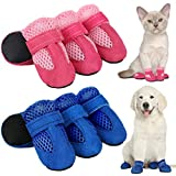 Geyoga 8 Pieces Breathable Dog Boots Mesh Dog Shoes with Adjustable Straps Non-Slip Soft Sole Dog Paw Protector Boots for Small and Medium Sized Dog Daily Walking (S, Blue and Pink)