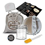 Sourdough Starter Jar with 9' Banneton Proofing Basket and Liner, Linen Bread Bag, Dough Scraper, Thermometer, Spatula and Printed Instructions with Recipes