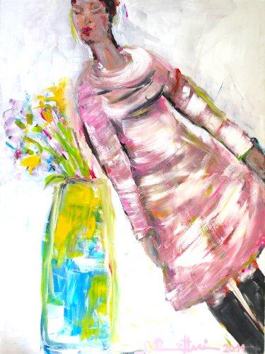 """""""CHARLOTTE HAT EINEN LINKSDRALL"""" – Leinwandbild - Frauenporträt mit Blumen 120 x 160 cm"""