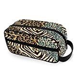 Doshine Animal Zebra Tiger Print, Bolsa de Maquillaje portátil para Viaje, Neceser de cosméticos, Bolsa de Aseo, Bolso para Mujeres y niñas para el hogar al Aire Libre