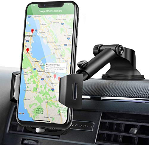 Car Phone Mount, Amoner U Car Phone Holder, Universal Long Neck Phone Holder for Car , Washable Strong Sticky Gel Pad Compatible iPhone 11 pro/max,X,XS,XR,8/7/6 Plus,Galaxy S20,10,9,8,Google Nexus