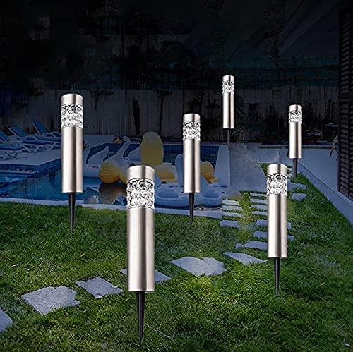 6 Pezzi Lampada Solare Luce Esterna Impermeabile Illuminazione Percorso palo luci solari cilindriche in Acciaio Inox Decorazione del Giardino Luce a LED per Giardino Esterno Patio Prato
