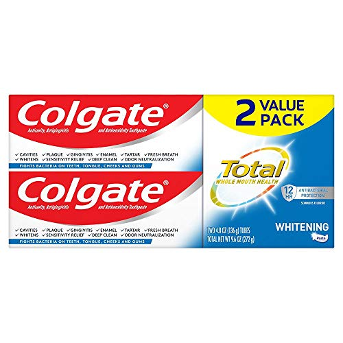 Colgate Total Whitening Toothpaste with Stannous Fluoride and Zinc, Sensitivity Relief and Cavity Protection Mint - 4.8 Ounce (2 Pack)