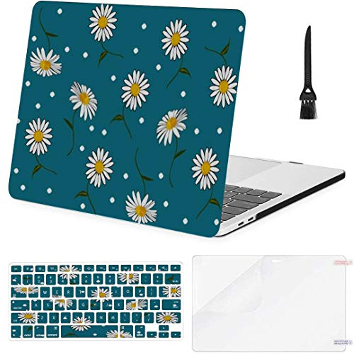 MacBook Pro Case Spring Daisy Flower Hand Drawn Vector MacBook Air 13'(Touch ID) A1932 Plastic Case Keyboard Cover & Screen Protector & Keyboard Clean