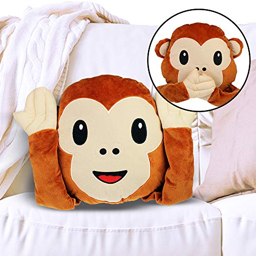MonstruoManía Cojín Emoji de Mono No Veo No Escucho No Hablo, 3 Monos en 1, Cojín Smile, Accesorios para Sofá
