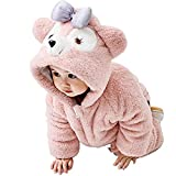 Fairy Baby Baby Boys Girls Winter Romper Outfit - Fleece Footed Jumpsuit Catoon Cute Bear Ears Hood - Snowsuit Warm Onesies Jumpsuit for Newborn Infant pink 3-6 months