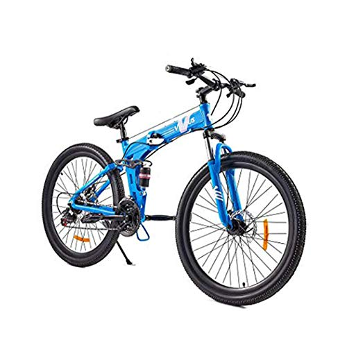 21 Speed Mountain Bike with Dual Disc Brakes,26 Inch All-Terrain Bicycle with Full Suspension Adjustable Seat Offroad Folding Bike-Blue