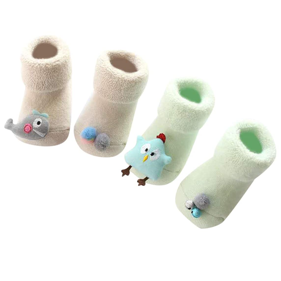 2 Pairs Baby Boy Girls Toddlers Moccasins Cute Animal Non-Skid Indoor Warm Slipper Shoes Baby Socks