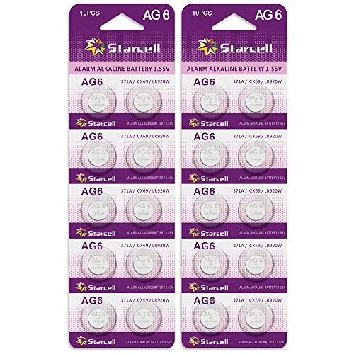 Act 20 Stück SR920SW Batterien Uhrenbatterie, 371 V371 AG6 Batterien LR920 SR 920SW 1,5V Knopfzellen