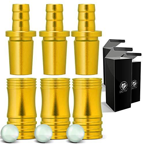 DILAW® Shisha Aluminium Schlauchadapter 18/8 Schliff Set 2-teilig Universal Hookah Wasserpfeife Alu Manyak,Opal,Vatos Menge: 3er Pack, Farbe: Gold