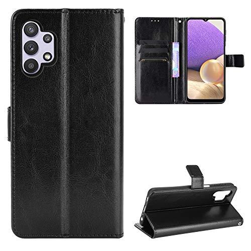 Fitudoos Handyhülle für Samsung Galaxy A32 5G Hülle Leder, Handyhülle für Samsung Galaxy A32 5G Hülle Leder Flip Hülle Brieftasche Etui Schutzhülle für Samsung Galaxy A32 5G- Schwarz
