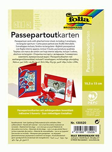folia 130520 - Passepartouts mit rechteckiger Stanzung, ca. 10,5 x 15 cm, 5 Karten (220 g/qm) und Kuverts, hochrot - ideal für Einladungen, Glückwunsch- oder Grußkarten