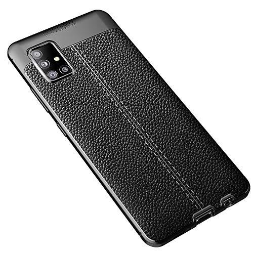 Galaxy A51 5G SC-54A/SCG07 ケース/カバー TPU レザー調 耐衝撃 ソフトケース ギャラクシー A51 5G 頑丈ケース/カバー ケース おしゃれ スマートフォン/スマフォ/スマホケース/カバー(ブラック)
