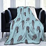 HOMNY Manatee Blue Flannel Fleece Microfiber Throw Blanket Extra Soft Brush Fabric Winter Warm Sofa Blanket Fuzzy Microplush Lightweight Thermal Fleece Blankets for Home Bed Couch
