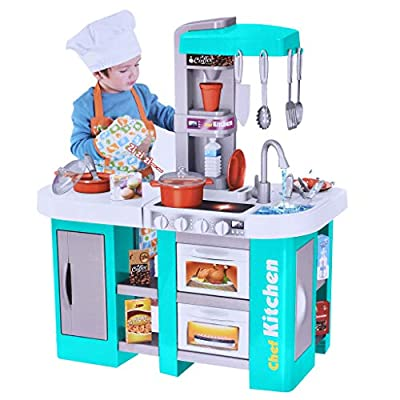 "UPDD-toy Kitchen Playset for Kids, Play Kitchen Set with All Lights and Sounds of Kitchen, Pretend Early Learning Educational Girls Boys Cooking Play, 26.3""x13""x 29"", Blue from UPDD"