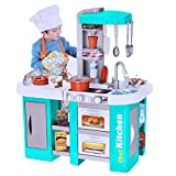 Deluxe Kitchen Playset,Kids Play and Pretend Kitchen Set with Sound and Lights,Simulation Cooking...