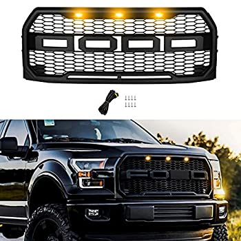 Front Grill Replacement for Ford F150 2015 2016 2017 Including XL XLT LARIAT Raptor King Ranch Platinum and Limited Raptor Style Grille for F150 Matte Black