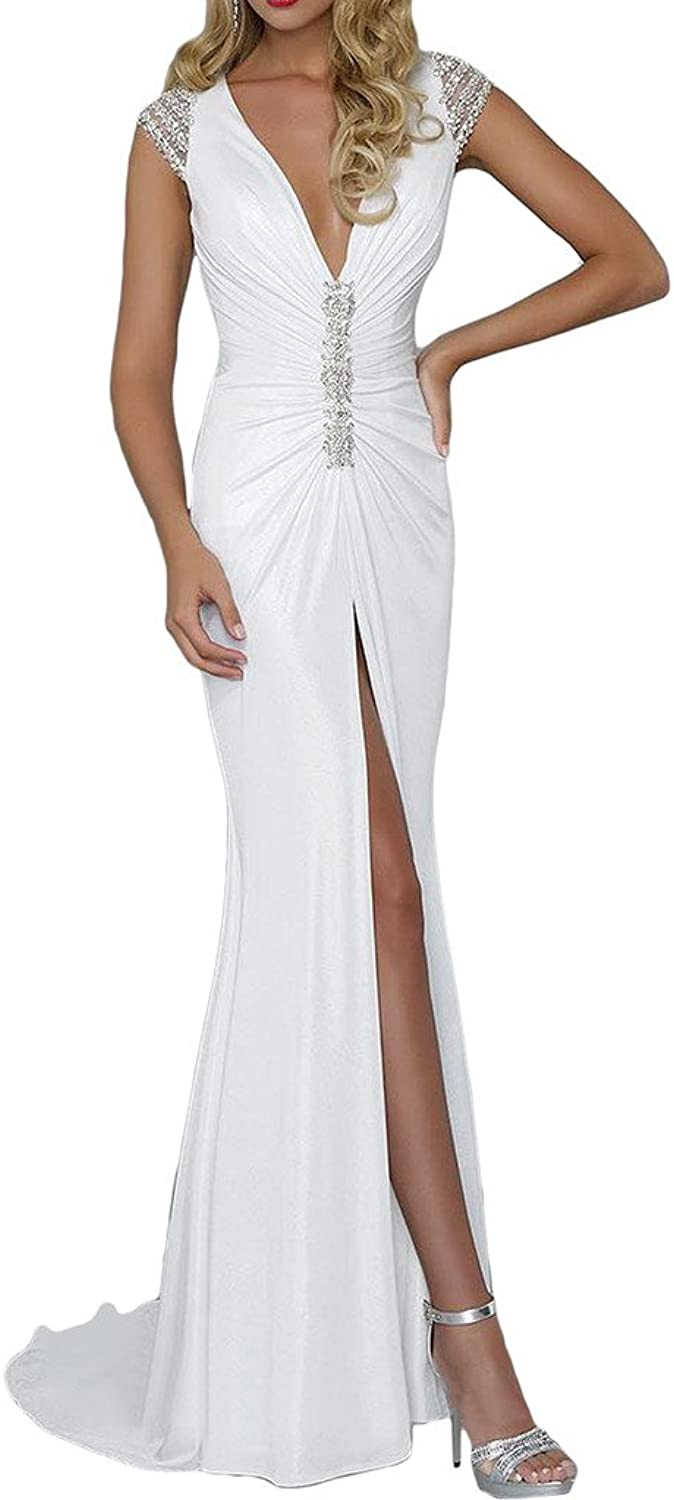Avril Dress Vneck Backless Slit Court Evening Wedding Dress Sheath Spandex