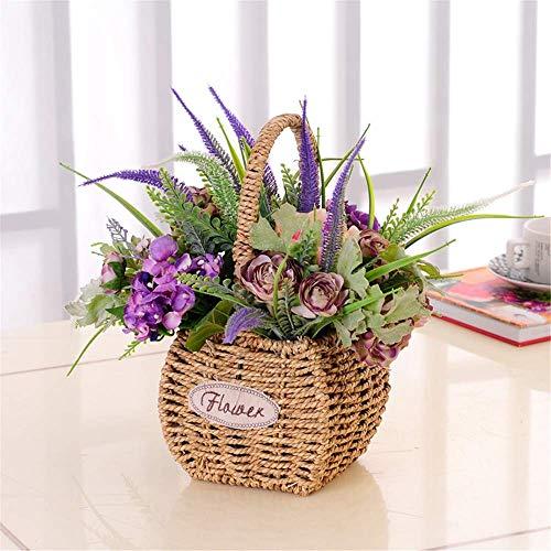 AXAA Piante da Fiore Artificiali - Girasoli Artificiali con Cesto Intrecciato per la Decorazione della Festa in casa da Ufficio, B.