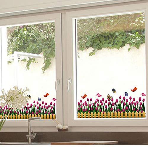 Meaosy Tulpen Venster Sticker Vinyl Bloem Baseboard Rokken Bloemetjes voor Woonkamer Glazen Raam Decoratie Stickers
