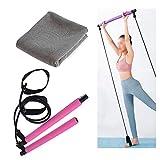 Pilates Barra elástica de Ejercicio Kit portátil Yoga Trainer Gym Ligera Resistencia física a Largo Banda Inicio del Entrenamiento,Pilates Bar-Quick Dry Ice Towel