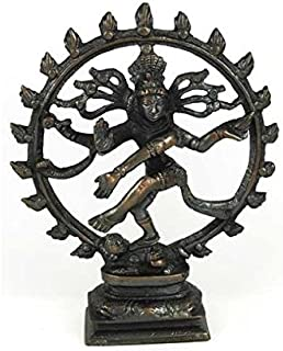 Large Antiqued Bronze Shiva Dancing Statue 6 Inches