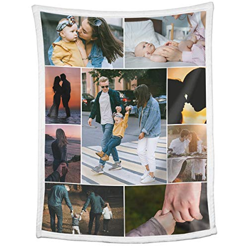 Custom Blankets with Photos Collage Personalized Throw Blankets with...