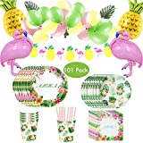 Amycute 101 Stück Hawaiian Party Zubehör Set, Flamingo Party Set,Vogel Geburtstag Geschirr Kit Tischdeko - Geburtstagsfeier,Kindergeburtstag Mottoparty, Baby Shower Party.
