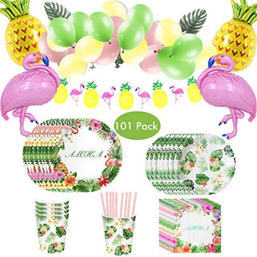 Amycute 101 Piezas Vajilla de Hawaianos Cumpleaños Adulto, Decoración de Globo Diseño Flamenco Globos Banner de Piña para Fiesta de Tropical Piscina de Verano