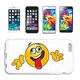 Reifen-Markt Handyhülle kompatibel mit Samsung Galaxy S7 LACHENDER Smiley STRECKT DIE Zunge Raus Smileys Smilies Android iPhone Emoticons IOS GRINSEGESICHT EMOTICO