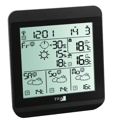TFA Dostmann Meteotime Fiesta Wetter-Info-Center, Profi-Wetterprognose, Anzeige von kritischen Wettersituationen, Funkuhr mit Datum