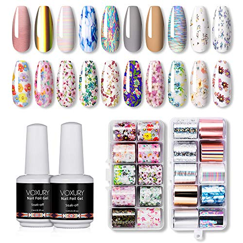 VOXURY Nail Art Foil, 2pcs Glue Gel 20 colores Nail Stickers Tips Wraps Foil Transfer Sticker Glitters Kit de decoración para manicura Acrílico DIY Decoración