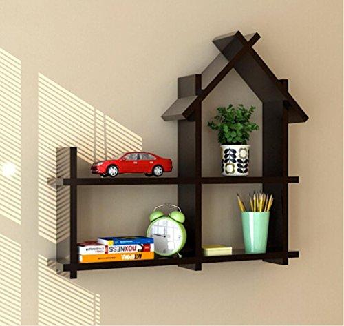 RSWLY Estante de la Pared de la casa pequeña de la habitación de los niños, gabinete Decorativo de la Sub-Rejilla del Colgante de Pared de la Sala de Estar (Color : Black)