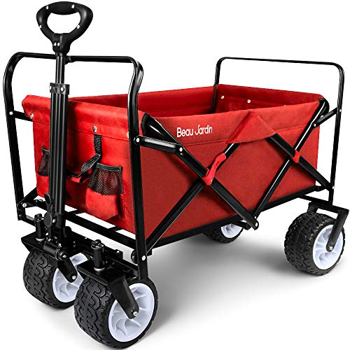 BEAU JARDIN Folding Wagon Cart 300 Pound Capacity Collapsible Utility Camping Grocery Canvas Portable Rolling Buggies Outdoor Garden Sports Picnic Heavy Duty Shopping Wide All Terrain Wheels Red