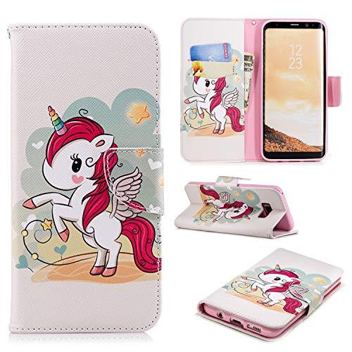 JIEAO, beschermhoes voor de Samsung Galaxy S8, met ingebouwde portemonnee en standaard Galaxy S8 Plus eenhoorn