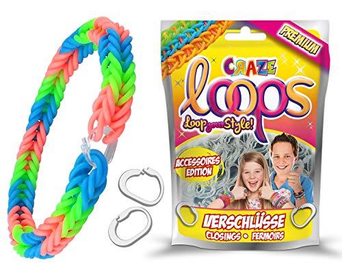 CRAZE Loops Closings Set Verschlüsse für Knüpfringe Silikonringe Armband Silikon Bänder Gummi Mega US-Trend 51260, bunt