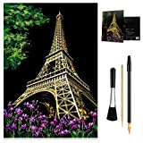 MIASTAR Scratch Painting Kits for Adults & Kids, Craft Art Set, Rainbow Scratch Art Painting Paper, Sketch Pad DIY Night View Scratchboard, 16'' x 11.2'' Creative Gift - with 3 Tools (Eiffel Tower)