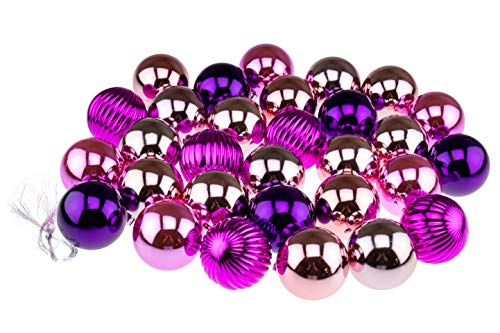 Clever Creations Shatterproof Christmas Tree Ornaments Large 60mm Pink, Peach, Magenta, Purple Variety Pack Christmas Décor   30 Piece Set Perfect for Christmas Decorations