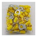 Cosse electriques RV5.5-8 costume borne anneau jaune isolé 4-6mm2 fil de câble Câble de connexion COSSE...