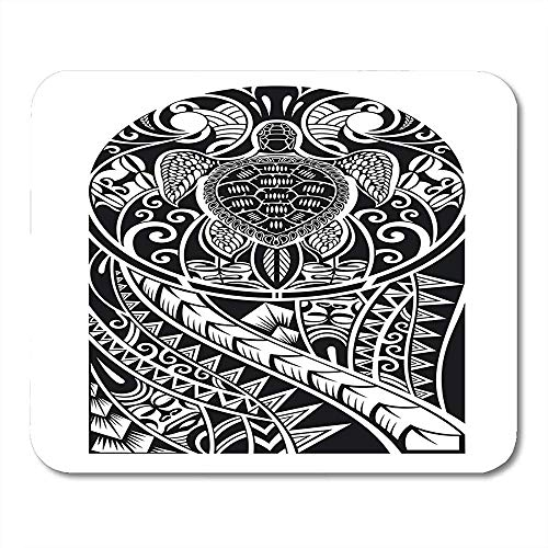 Mousepad Arm Schwarz Polynesischen Traditionellen Maori Tattoo Turtle Tribal Archaischen Notebooks Desktop-Computer Matten Bürobedarf Mauspads 25X30Cm