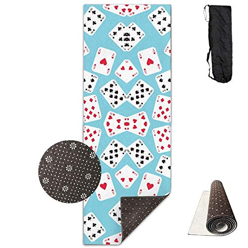 Yoga Mat Eco-Friendly Anti Slip in Wonderland Playing Cards Mat Carrying Strap & Bag Non-Toxic Printedfor Exercise,Yoga and Pilates 71 X 24 Inch