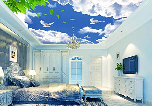 ShAH 3D-Wandbild, grüne Blätter, 3D-Tapete für Decke für Wohnzimmer, Deckentapete, Wandbild, 350 x 256 cm