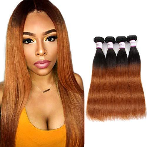 Blonde Hair Ombre Brazilian Straight Human Hair 4 Bundles, Dark Brown Long Silky Straight Weaving Hair Two Tone Weave Bundles (14'16'18'20', 1B/30)